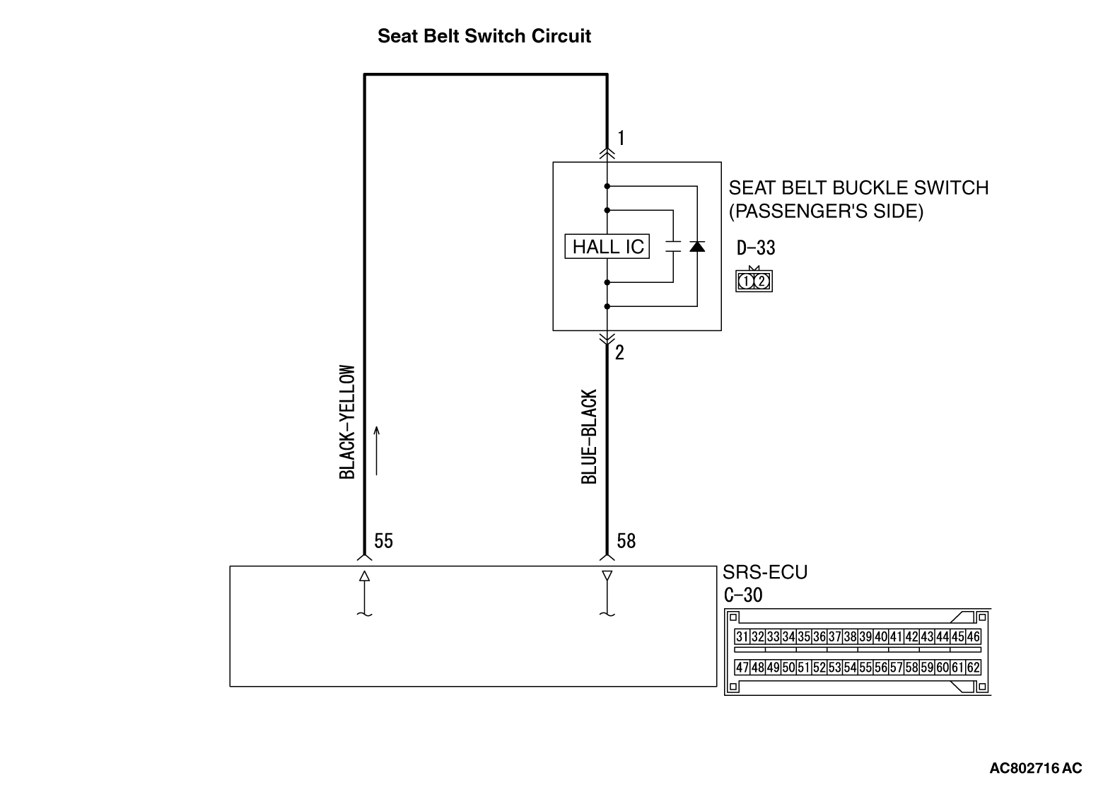 52b Dtc B1b54 Seat Belt Switch Rh Malfunction Wiring Open Circuit B1b55 Buckle Power Supply Side Shorted B1b56